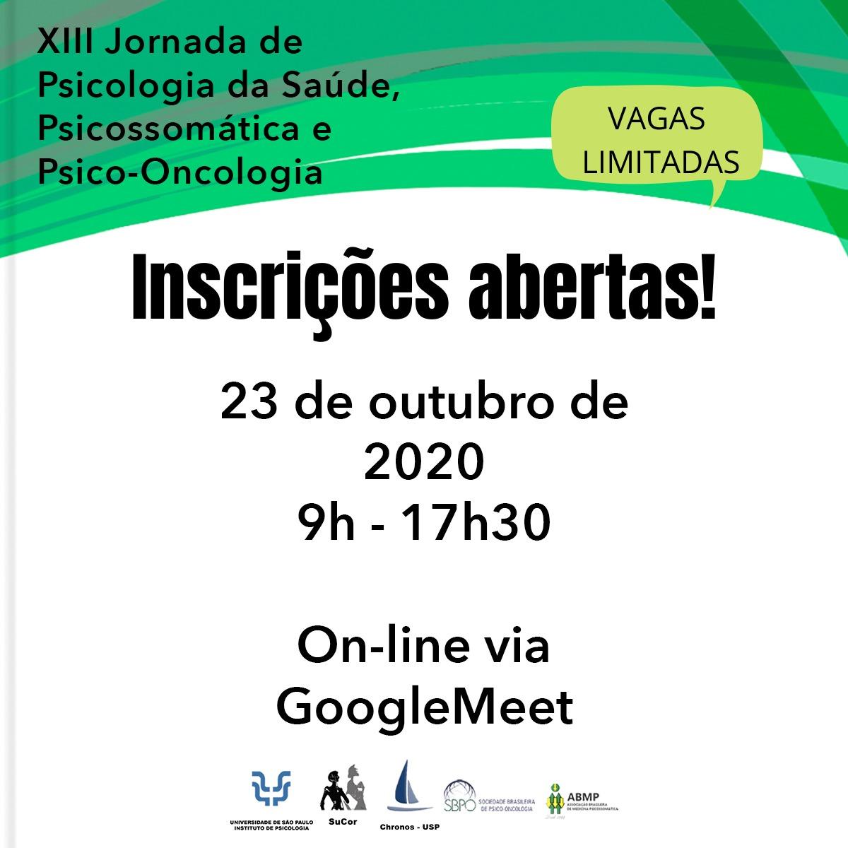 XIII Jornada de Psicologia da Saúde, Psicossomática e Psico-Oncologia
