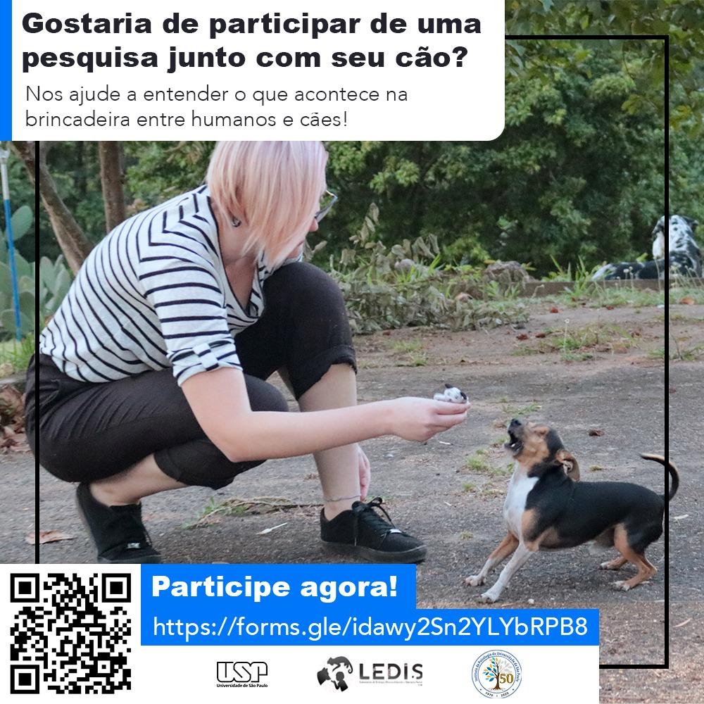 Pesquisa do IPUSP busca voluntários para entender o que acontece durante brincadeiras entre humanos e cães